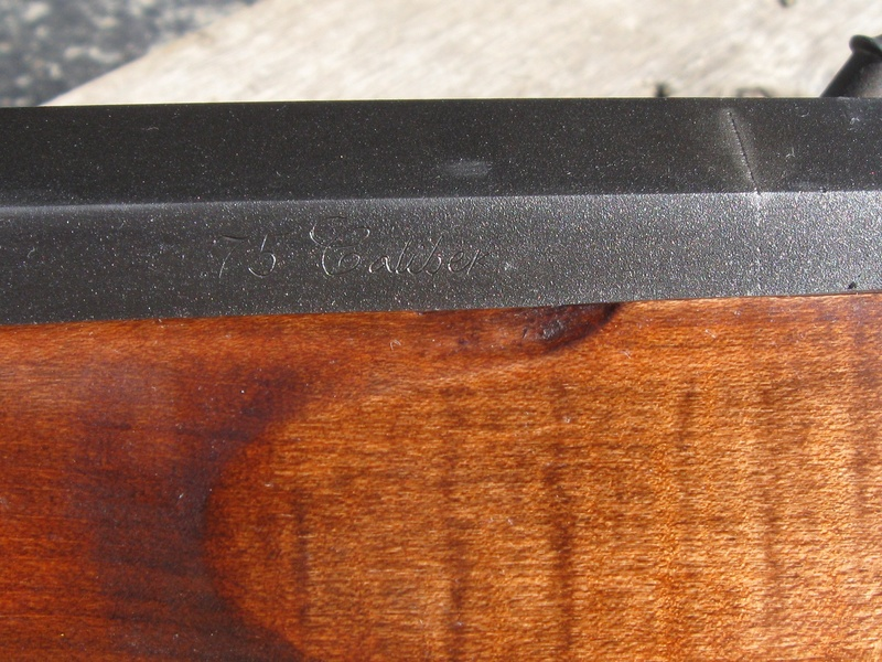 75 Caliber Engraving on barrel flat
